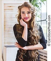 mulher bonita, hairdress, jovem, longo, loura, retrato