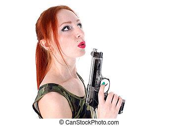 mulher bonita, handgun, jovem, segurando