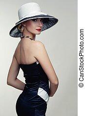 mulher bonita, hat.
