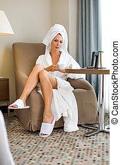 mulher bonita, hotel, adulto jovem, paleto