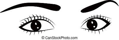 mulher bonita, illustration., drawing., vetorial, pretas, white., tinta, eye.