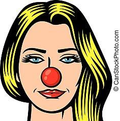 mulher bonita, -, ilustração, nariz, dia, vermelho