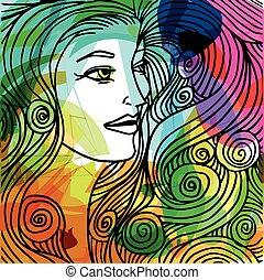 mulher bonita, ilustração, rosto