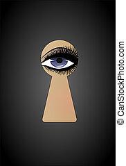 mulher bonita, ilustração, vertical, vetorial, peeking, buraco fechadura
