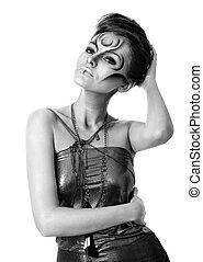 mulher bonita, -, imagem, bodyart, bw, retrato, prata