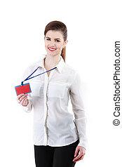 mulher bonita, imagem, jovem, vermelho, mostrando, cartão