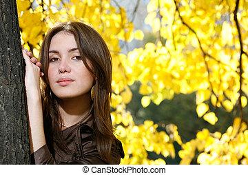 mulher bonita, inclinar-se, árvore, jovem, amarela, outono, park., tronco