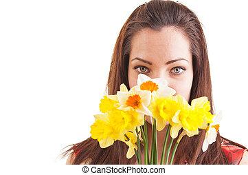 mulher bonita, introverted, tímido, jovem, rosto, atrás de,...
