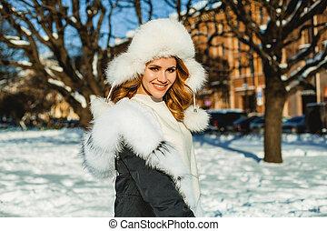 mulher bonita, inverno, ao ar livre, portrait., chapéu, femininas, modelo