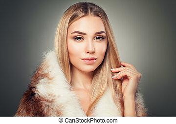 mulher bonita, inverno, beleza, moda, loiro, modelo, fur.