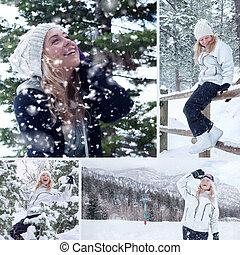 mulher bonita, inverno, collage., jovem, experiência., ao ar livre, retrato