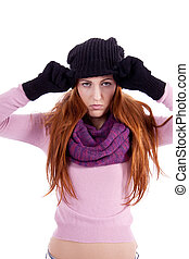 mulher bonita, inverno, isolado, jovem, luvas, chapéu, echarpe