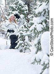 mulher bonita, inverno, jovem, experiência., ao ar livre, retrato