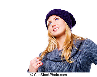mulher bonita, inverno, sobre, jovem, loura, sorrindo, branca, roupas