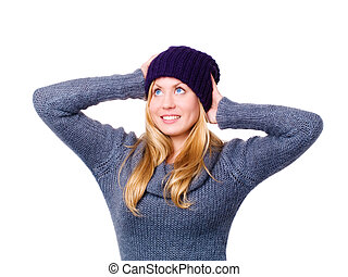 mulher bonita, inverno, sobre, jovem, sorrindo, branca, roupas