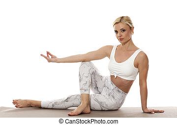 mulher bonita, ioga, jovem
