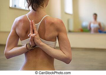 mulher bonita, ioga, jovem, exercício