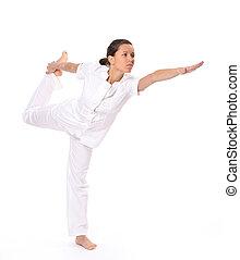 mulher bonita, ioga, jovem, pose