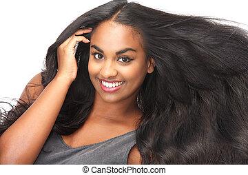 mulher bonita, isolado, cabelo, fluir, sorrindo, branca