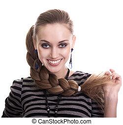 mulher bonita, isolado, cabelos formam, trança
