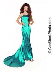 mulher bonita, isolado, elegante, posar, fundo, modelo, vestido, branca