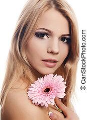 mulher bonita, isolado, flor, branca, gerbera
