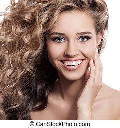 mulher bonita, isolado, portrait., fundo, sorrindo, branca