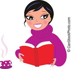 mulher bonita, isole, livro, branca, leitura, vermelho