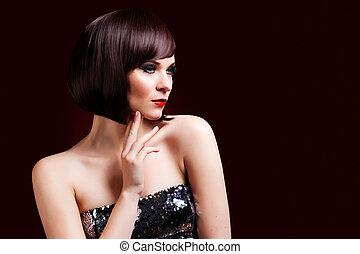 mulher bonita, jóia, beauty., noite, make-up., foto, moda
