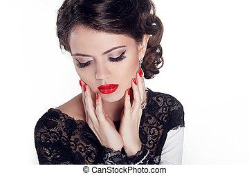 mulher bonita, jóia, beauty., noite, make-up., moda