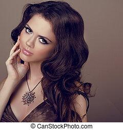 mulher bonita, jóia, cacheados, foto, cabelo, noite, make-up., beauty., retrato, menina, moda