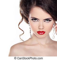 mulher bonita, jóia, cacheados, lips., cabelo, noite,...