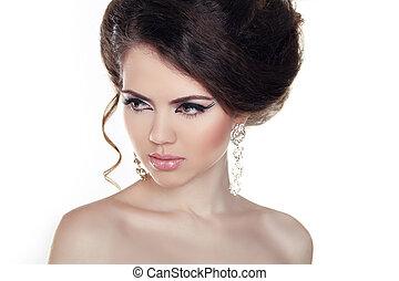 mulher bonita, jóia, foto, moda, model., glamor, beauty., retrato