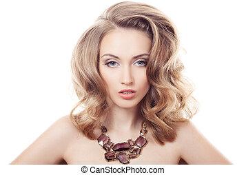 mulher bonita, jóia, isolado, moda, luxo, retrato