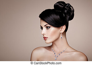mulher bonita, jóia, jovem, moda, retrato