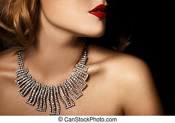 mulher bonita, jóia, moda, luxo, retrato