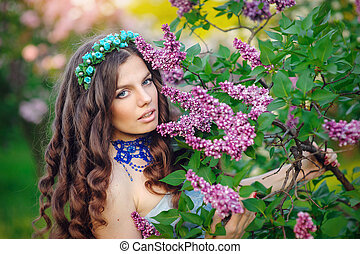 mulher bonita, jardim