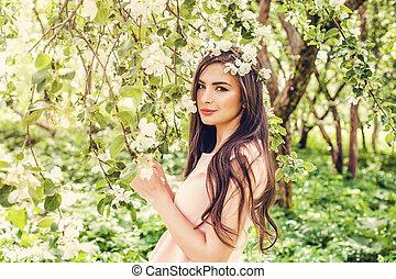 mulher bonita, jardim, flor, primavera, jovem, fundo, flores
