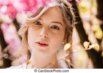 mulher bonita, jardim, jovem, florescer, proposta
