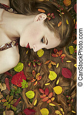 mulher bonita, jardim, jovem, outono, moda, retrato
