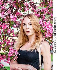 mulher bonita, jardim, jovem, sakura, japão