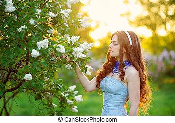 mulher bonita, jardim, lilás