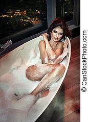 mulher bonita, jovem, banho, morena, excitado, bolha