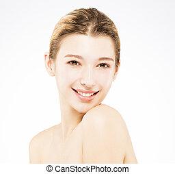 mulher bonita, jovem, beleza, rosto