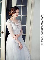 mulher bonita, jovem, bride., vestido branco