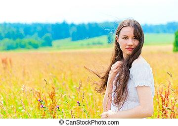 mulher bonita, jovem, cabelo longo, cores, branca