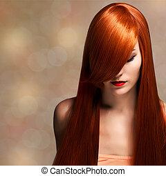 mulher bonita, jovem, cabelo longo, elegante, closeup, ...