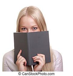mulher bonita, jovem, caderno