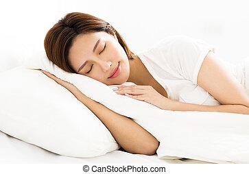 mulher bonita, jovem, cama, dormir