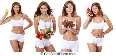 mulher bonita, jovem, condicão física, loiro, roupa, branca